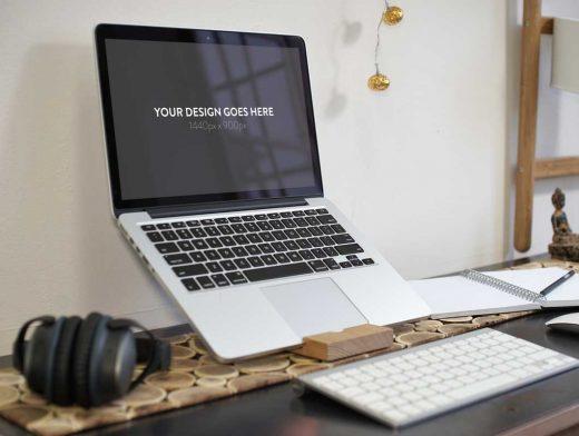 3 MacBook Pro Office Layouts PSD Mockup