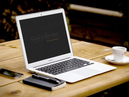 3 Macbook Air Laptop Scenes PSD Mockup