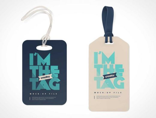4 Free Luggage Address Tag Labels PSD Mockup