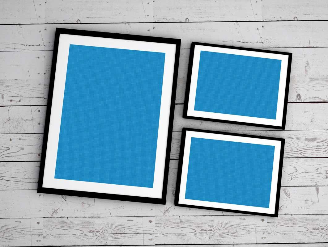 4 Photo Framed Poster Layouts PSD Mockup