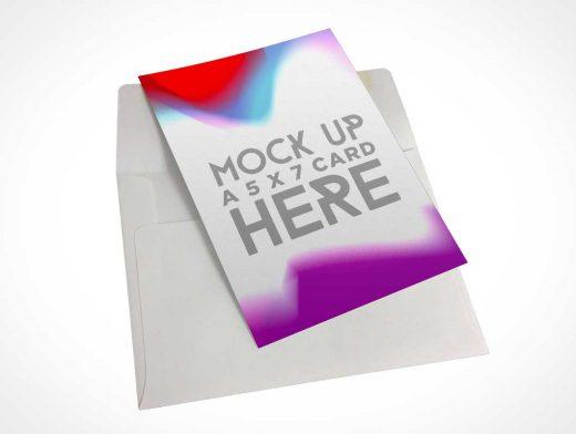 5x7 Invitation Card & Envelope PSD Mockup
