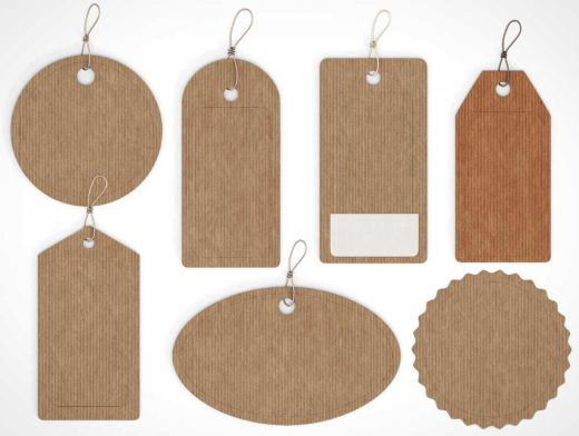 7 Tag Product Label Styles PSD Mockup