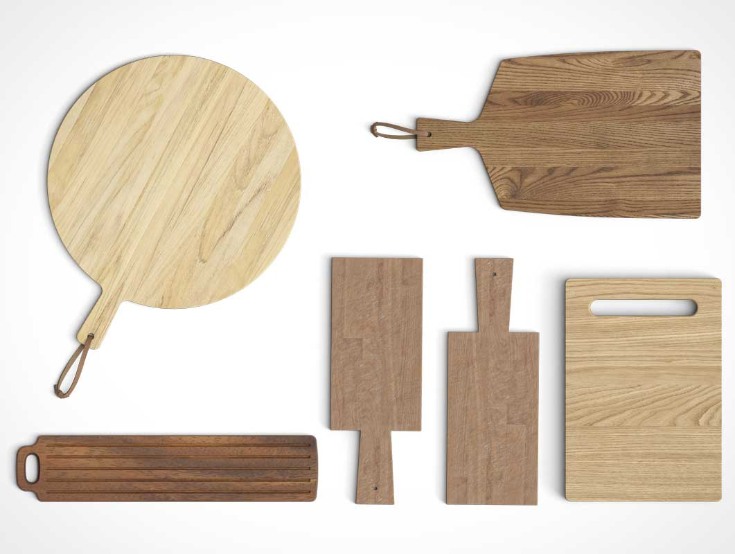 8 Chopping Boards Top Down View PSD Mockups