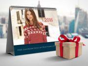 A-Frame Desk Calendar & Gift Box PSD Mockup