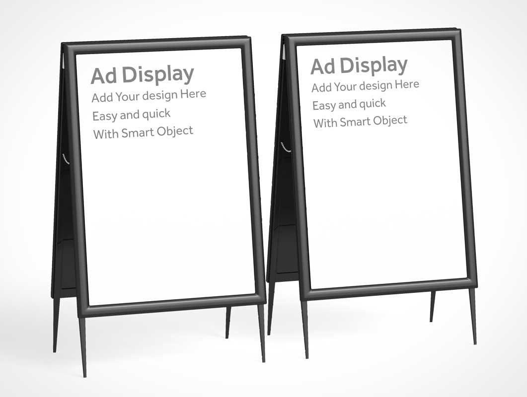 A-Frame Foldable Sign Board PSD Mockup