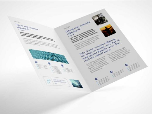 A4 Bi-Fold Brochure Covers & Inner Pages PSD Mockup