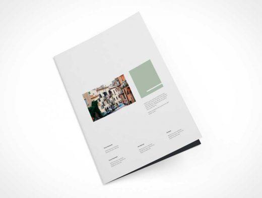 A4 Bi-fold Brochure Levitation Front Cover PSD Mockup
