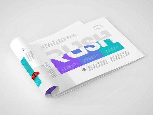 A4 Brochure Landscape Format PSD Mockup