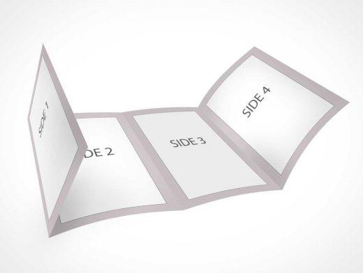 A4 Four Fold Brochure Leaflet PSD Mockup