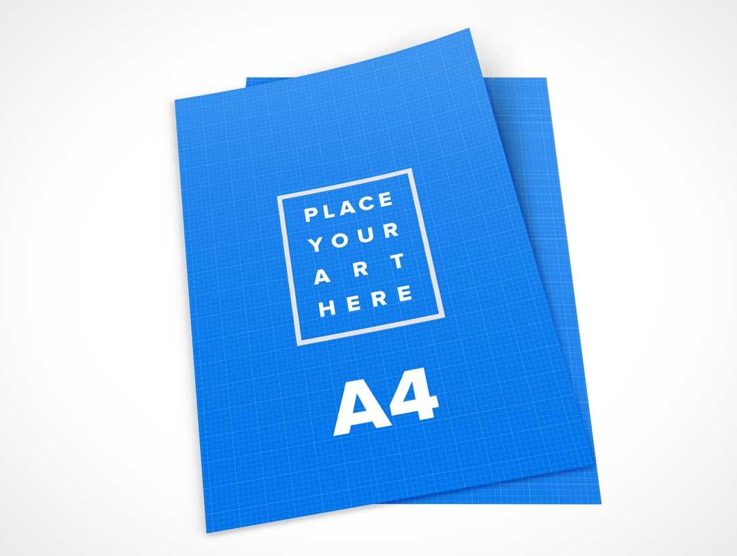 A4 Leaflet Sheet Paper Pair PSD Mockup