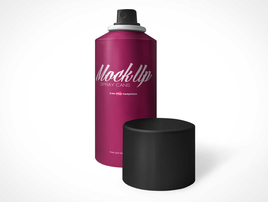 Aerosol Spray Can, Nozzle & Cap PSD Mockup