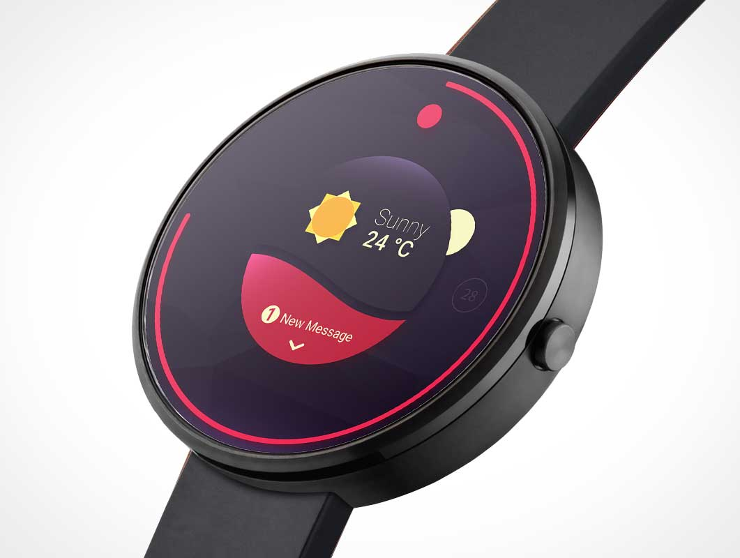 Android Wear Round Smartwatch PSD Mockup