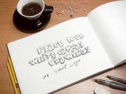 Art Book Showcasing Sketch Drawings PSD Mockup