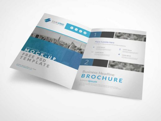 Bi Fold A4 Brochure Left & Right Panels PSD Mockup