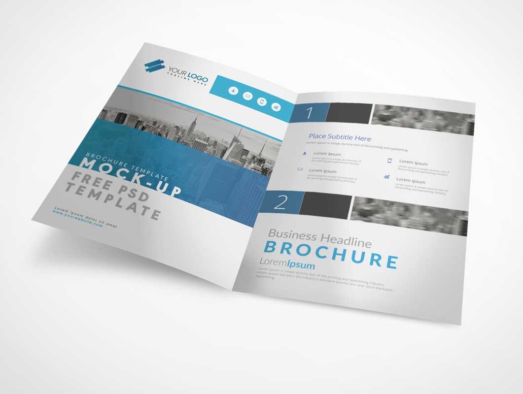 bi fold a4 brochure left right panels psd mockup psd mockups