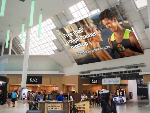 Billboard Hangs In Busy Mall Ceiling PSD Mockup