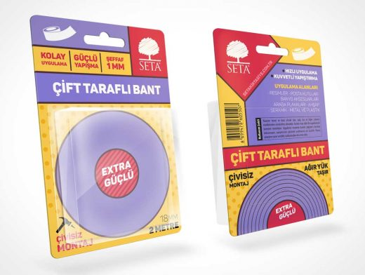 Blister Pack Roll Tape Packaging PSD Mockup