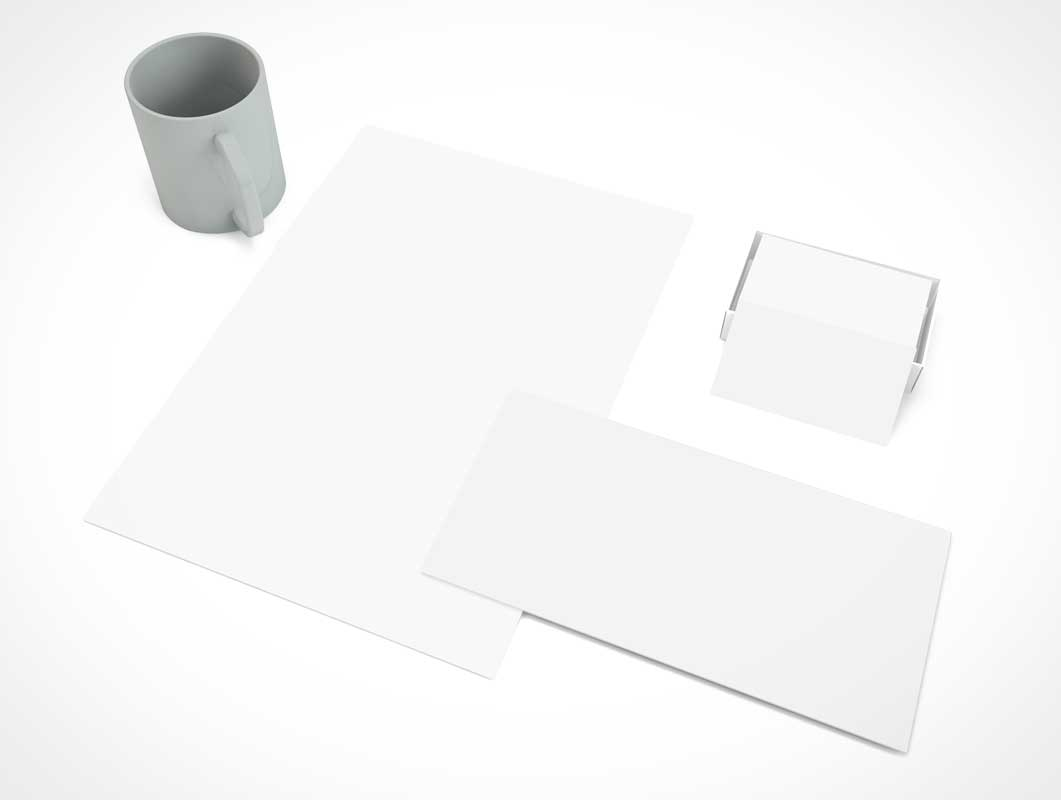 Branding Stationery Above Product View PSD Mockup