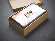 Business Card & Cardboard Box Container PSD Mockup