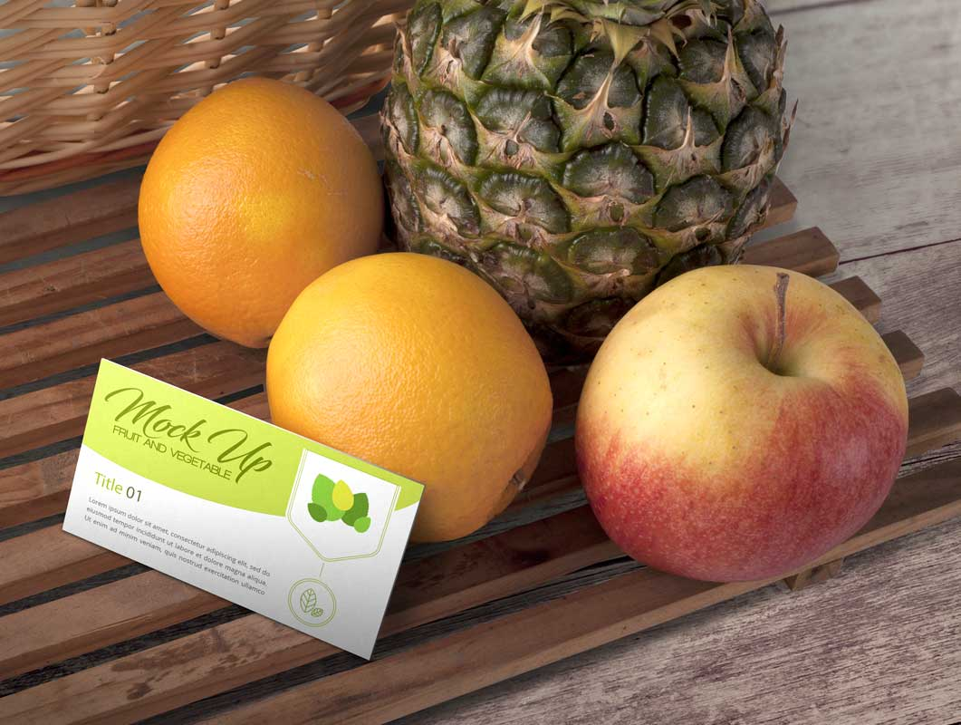 Business Card & Fruit Produce Scene PSD Mockup