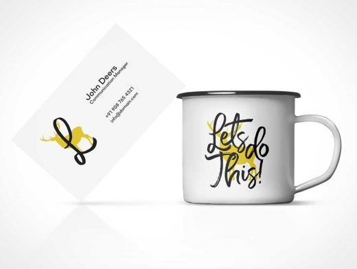 Business Card & Tin Coffee Cup PSD Mockup