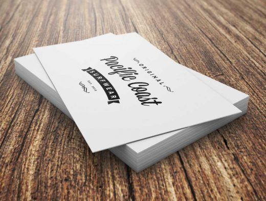 Business Cards Short Stack Pile PSD Mockup