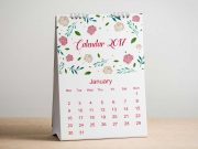 Calendar A-Frame Desk Product PSD Mockup