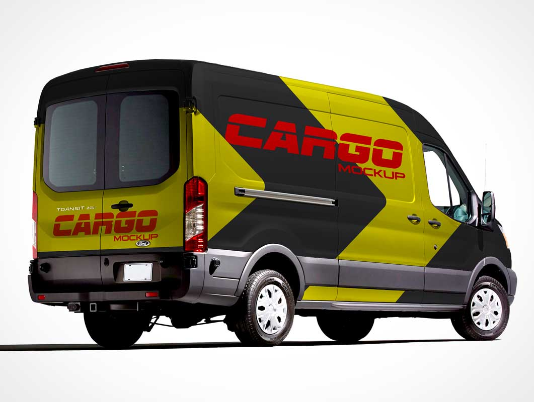 Cargo Delivery Van Front, Back and Side Views PSD Mockup