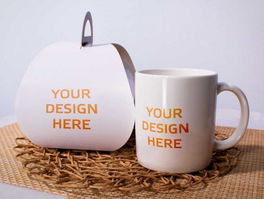Ceramic Mug & Cardboard Packaging PSD Mockup