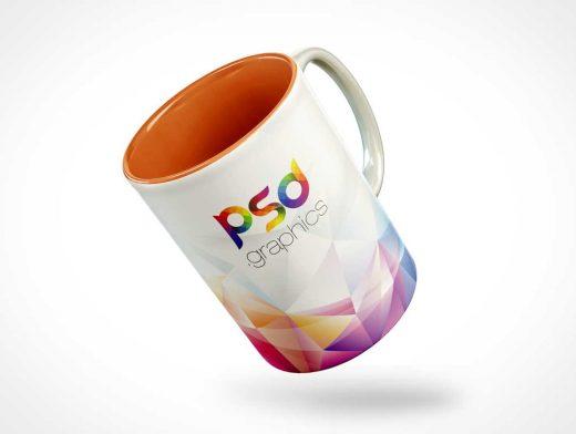Ceramic Mug Floating Mid-Air PSD Mockup