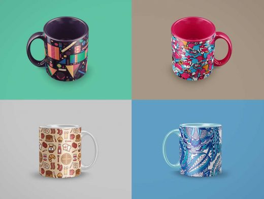 Ceramic Mug Multiple Angles PSD Mockup