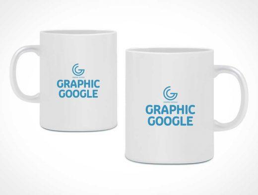 Ceramic Mug Side Views PSD Mockup