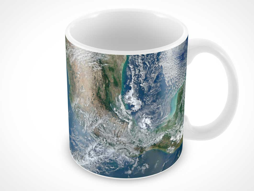 Ceramic Mug With Handle On Right Side PSD Mockup