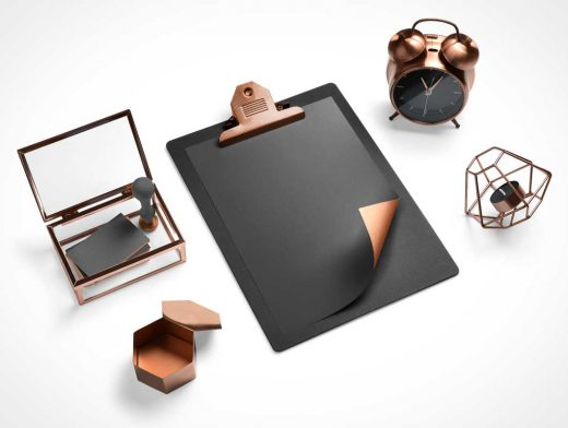Clipboard, Clock & Business Card Branding PSD Mockup