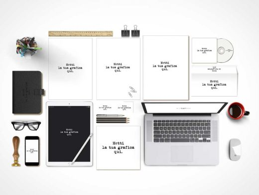 Complete Corporate Stationery Branding Scene Kit PSD Mockup