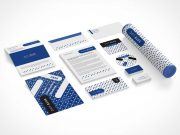 Corporate Identity Stationery Isometric & Top View PSD Mockup