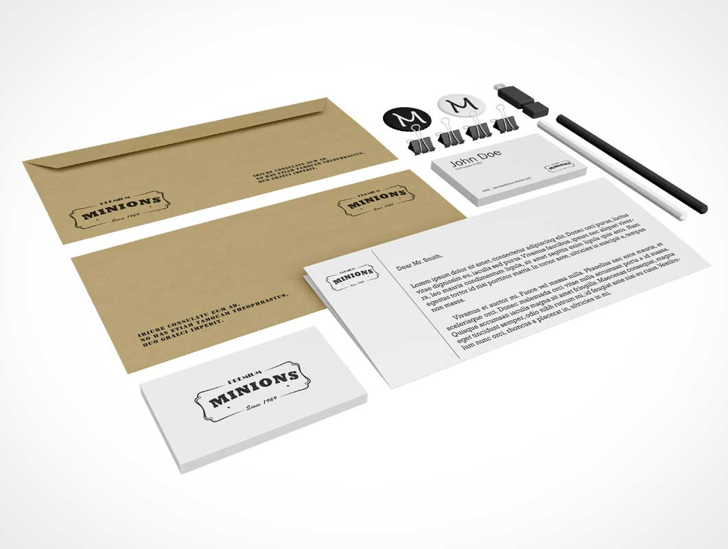 Corporate Stationery Branding Perspective PSD Mockup