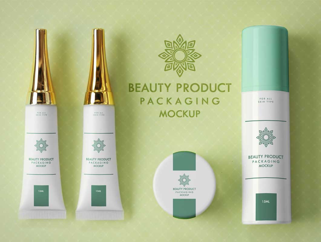 Cosmetic Squeeze Tubes, Cream Jar & Pump Bottle PSD Mockup