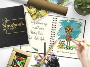 Customizable Notebook & Sketchbook Scene PSD Mockup
