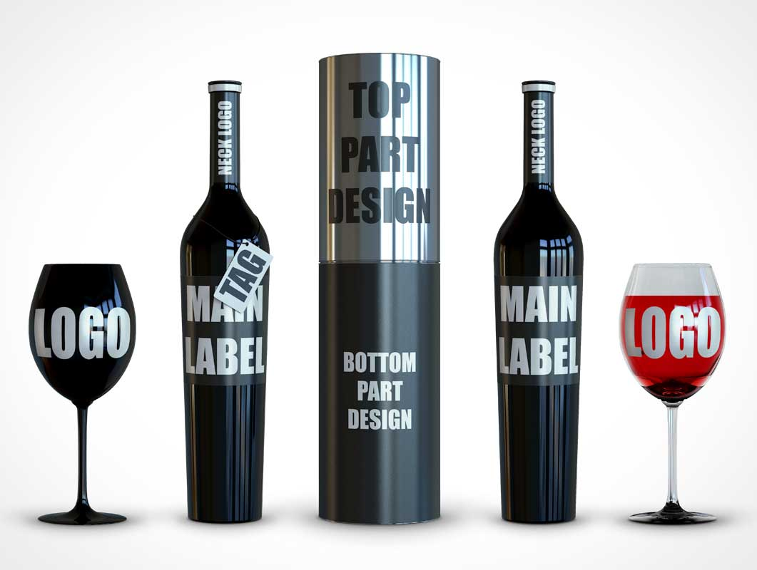 Dark Wine Bottles Showcasing High End Product PSD Mockup