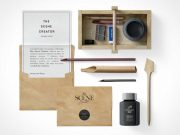 Designers Wooden Toolbox Kit Scene Creator PSD Mockup