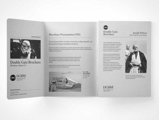 Double Gatefold Brochure Booklet PSD mockup