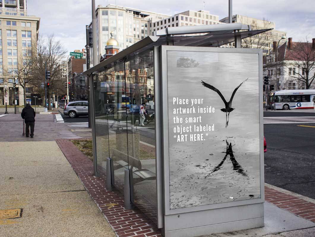Downtown Bus Stop With Poster Advertising PSD Mockup