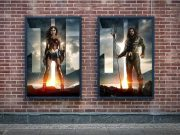 Dual Poster Frame Billboards On Brick Wall PSD Mockup