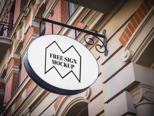 Exterior Backlit Shop Store Sign PSD Mockup