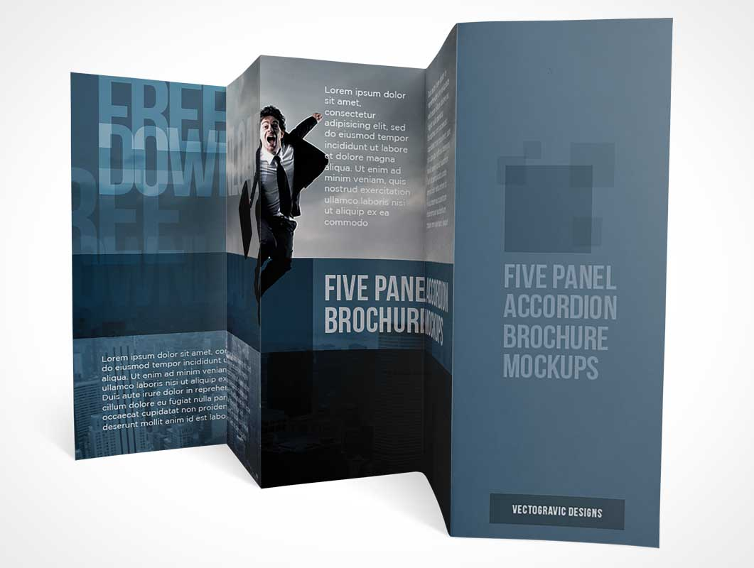 five panel accordion brochure multiple views psd mockup psd mockups