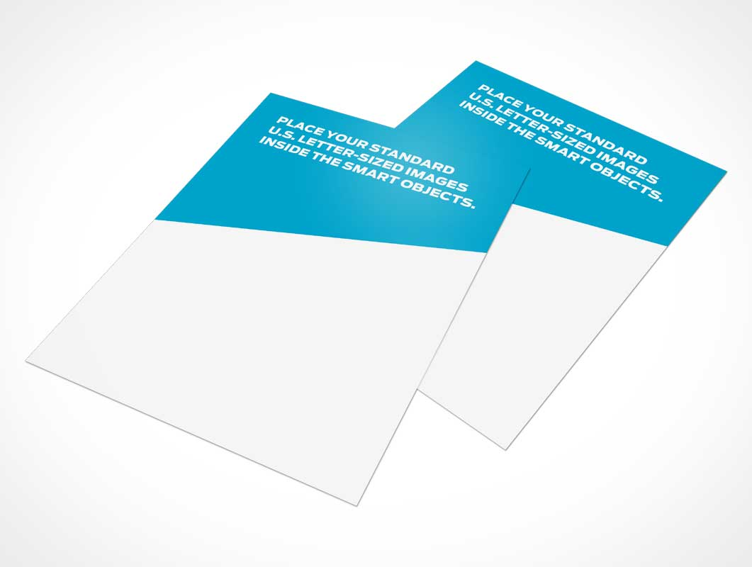 Flyers In Standard Letter Size & Stacked PSD Mockup