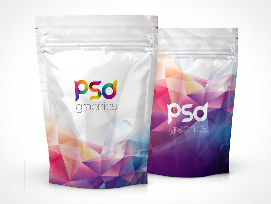 Foil Pouch Zip Seal Front Covers PSD Mockup