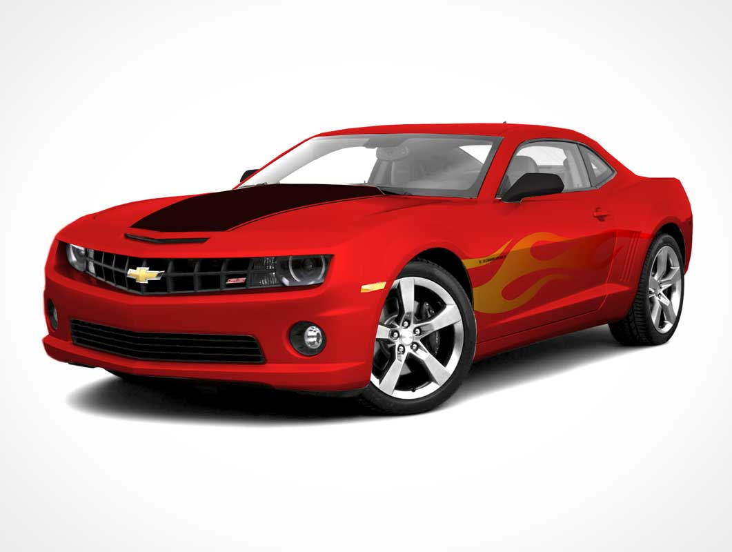 Ford Camaro Mustang Muscle Car Front View PSD Mockup