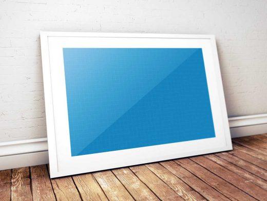 Framed Photo & Inner Bevel Leaning On Wall PSD Mockup